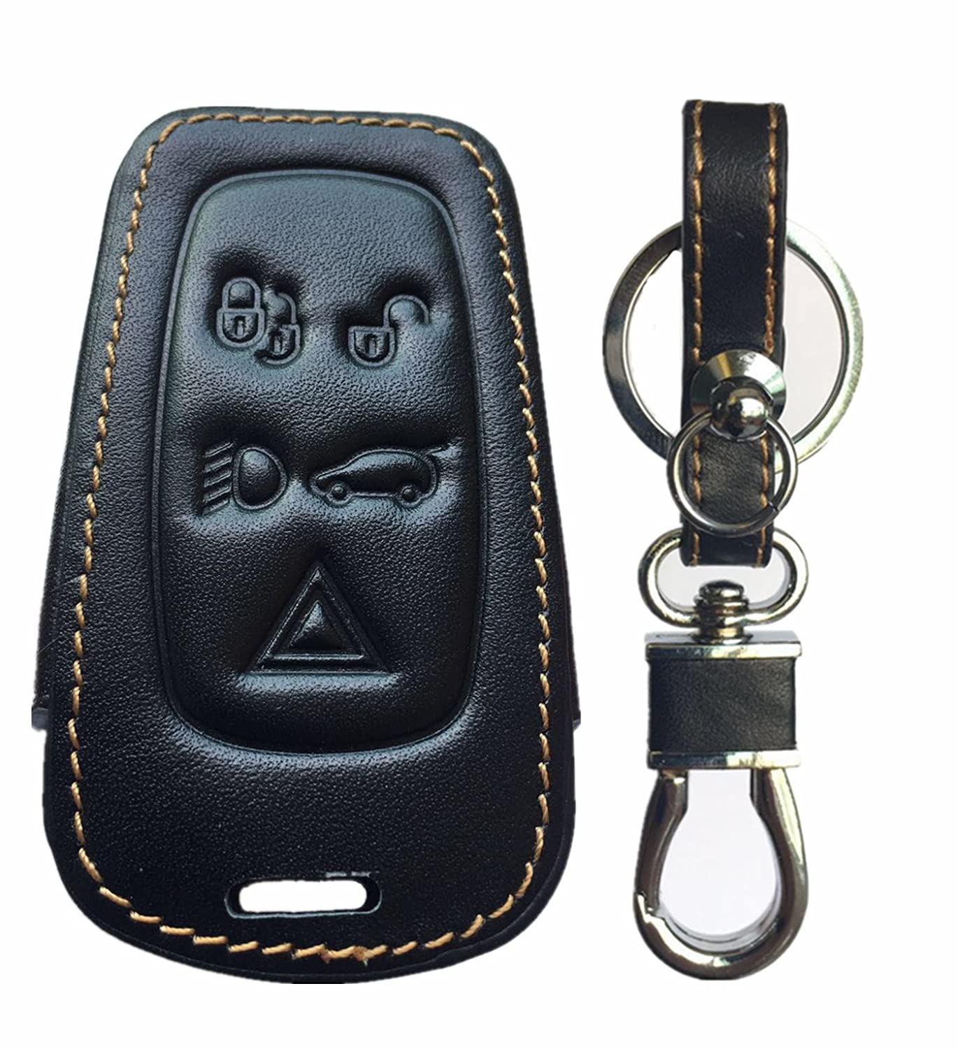 Rpkey Leather Keyless Entry Remote Control Key Fob Cover Case protector For 2010 2011 2012 Land Rover Discovery LR4 Range Rover Sport LR052882 KOBJTF10A LR052905