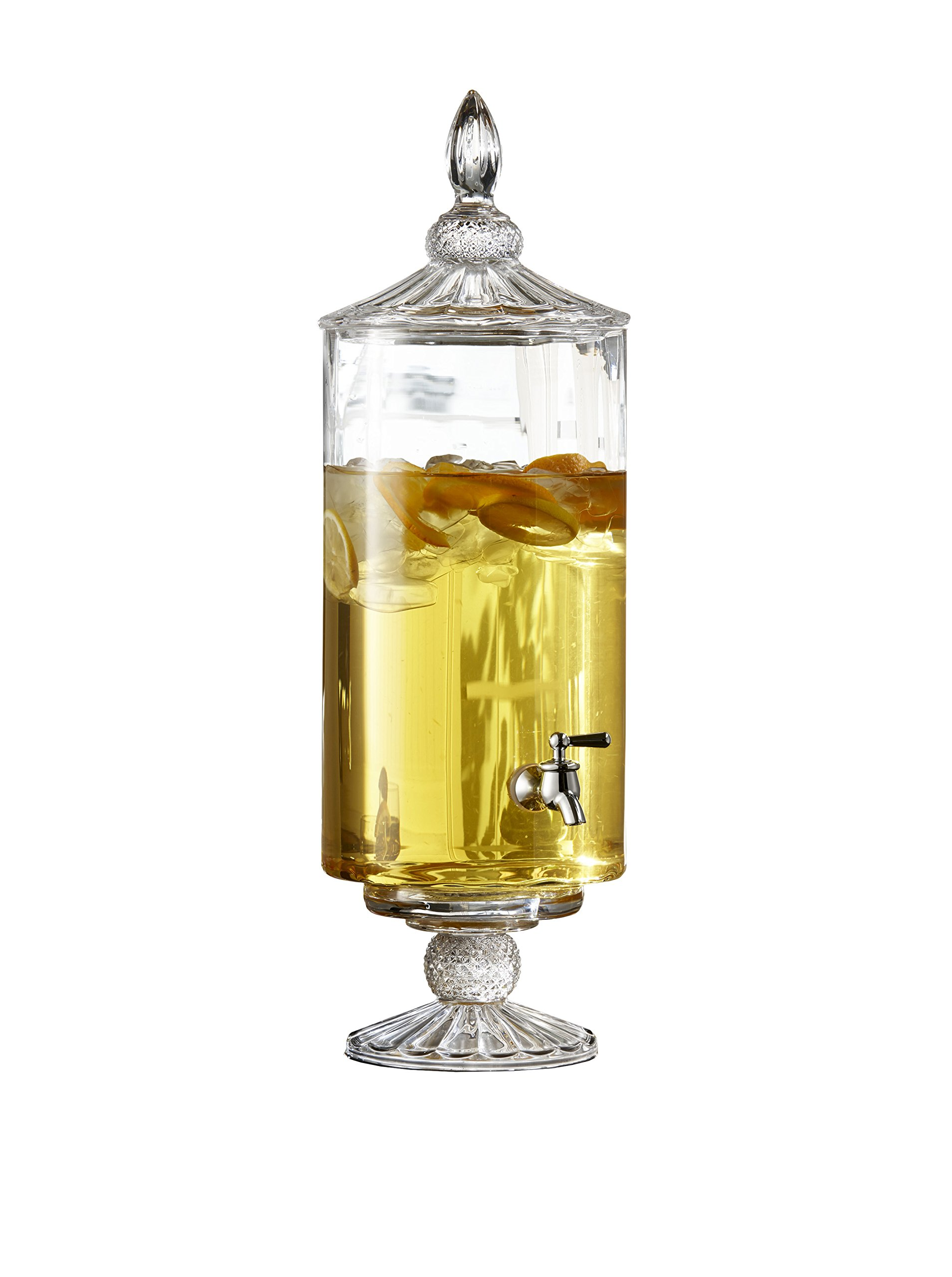 Fifth Avenue Crystal Westchester Optic 210142-GB 2 Gallon Beverage Drink Dispenser with Glass Lid, 9.5 x 19'', Clear