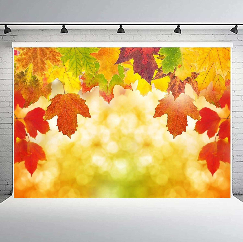 PHMOJEN Autumn Fall Maple Leaves Photography Backdrop Vinyl 10x7ft Portrait Photo Background Studio Props LYPH762