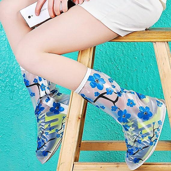 eDealMax 1 par del patrón del tamaño S despejado Flor Azul reutilizables antideslizantes cremallera botas de lluvia zapatos cubierta del protector de ...