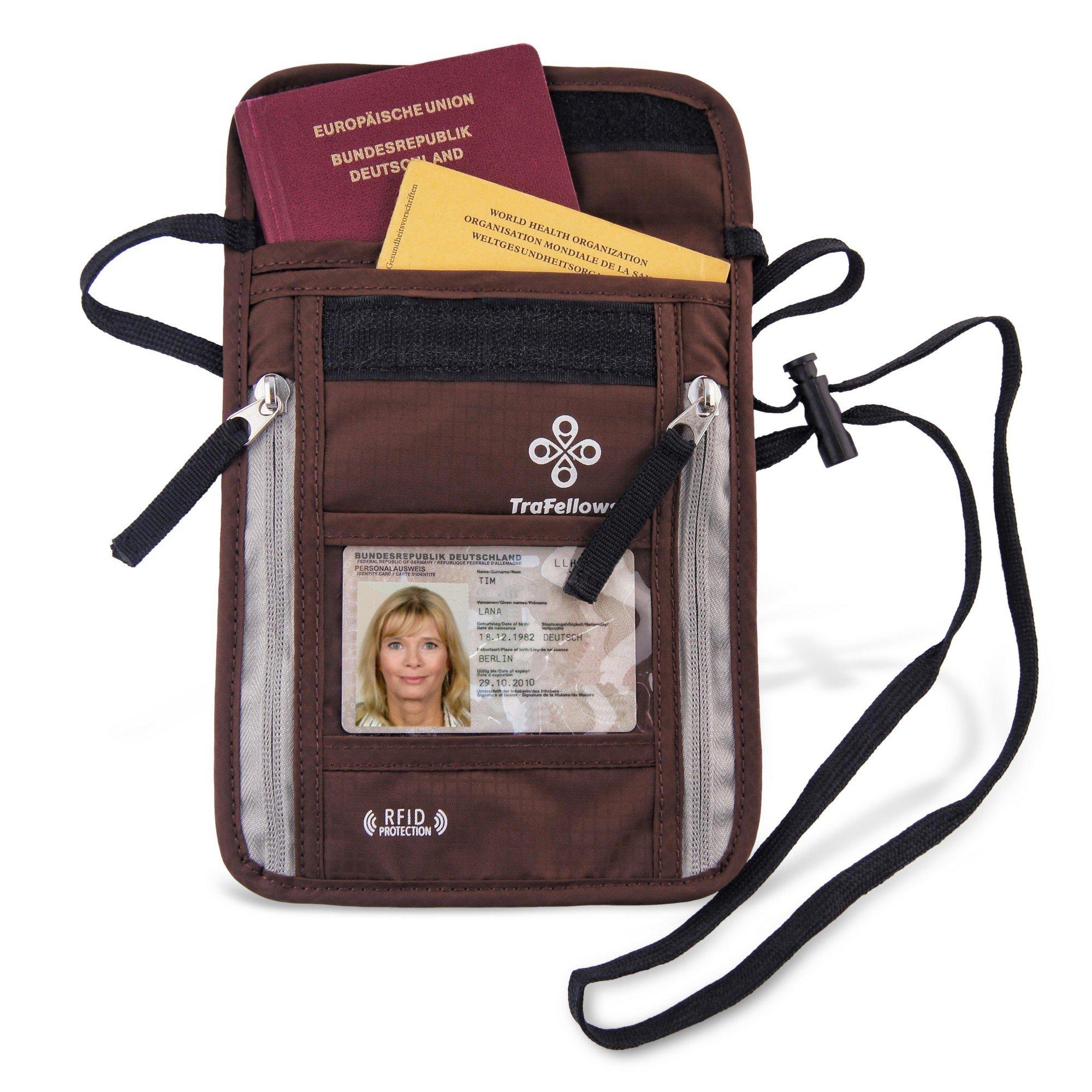 Pochette à bandoulière avec protection RFID pour hommes et femmes | Sac plat et spacieux | Sacoche légère pour garder vos documents et votre téléphone en sécurité (marron)