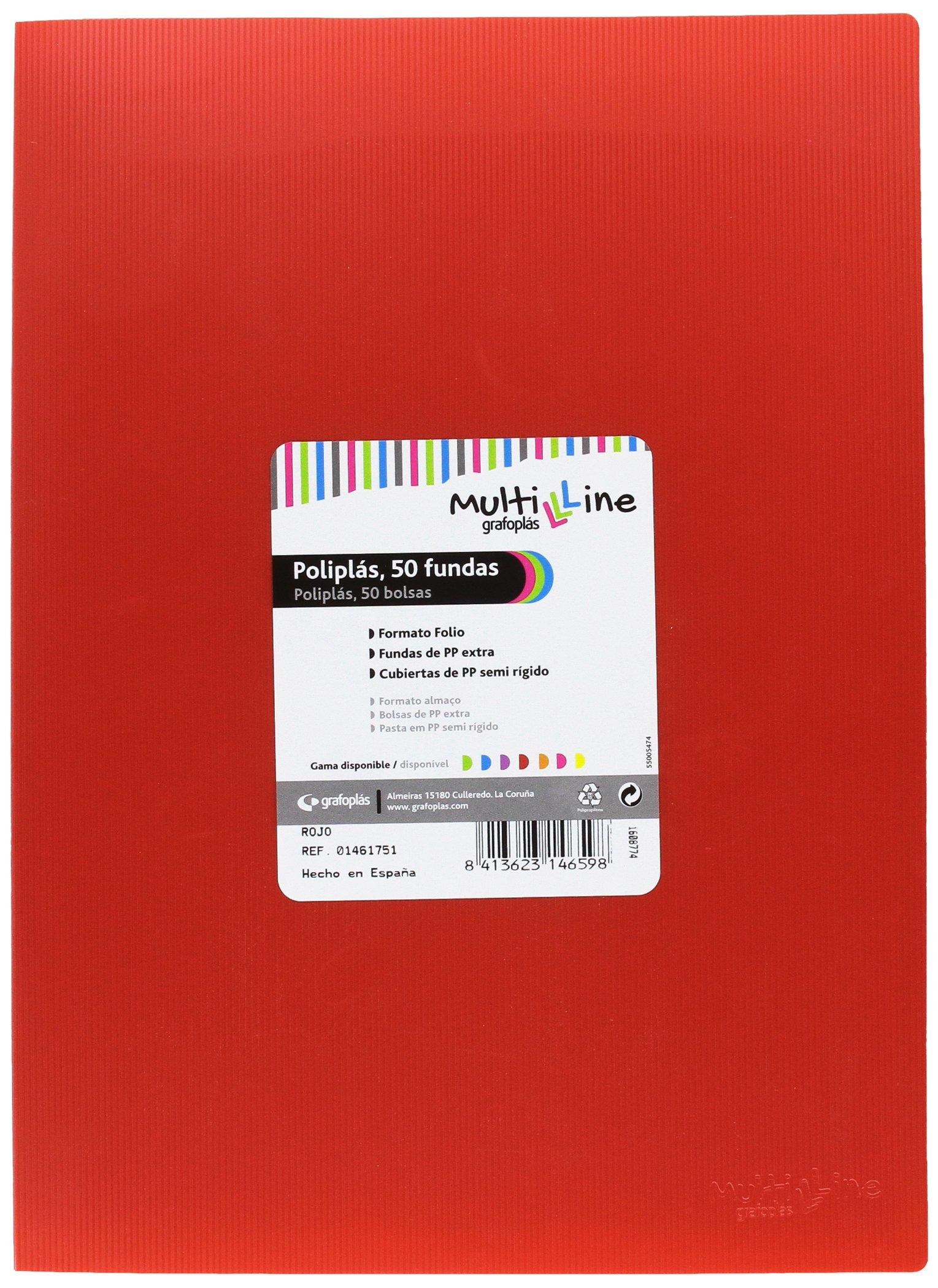 grafoplas 1461751–50Sleeves, Foolscap, Tapas Folder PP, red