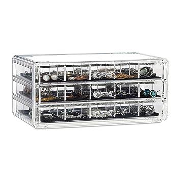 Relaxdays Organizador para Maquillaje, Acrílico, Tres Cajones, Caja de Almacenaje, Transparente, 10,5 x 23,5 x 15,5 cm: Amazon.es: Hogar