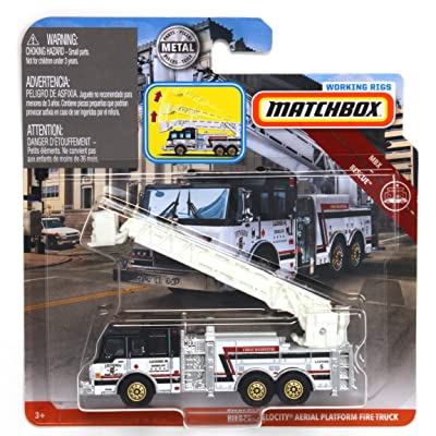 Matchbox Working Rigs Pierce Velocity Aerial Platform Fire Truck, White and Black: Toys & Games