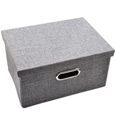 Haoun Folding Fabric Storage Box Lift Off Lid Dual Metal Eyelets Handles  Sundries Organizer Bin