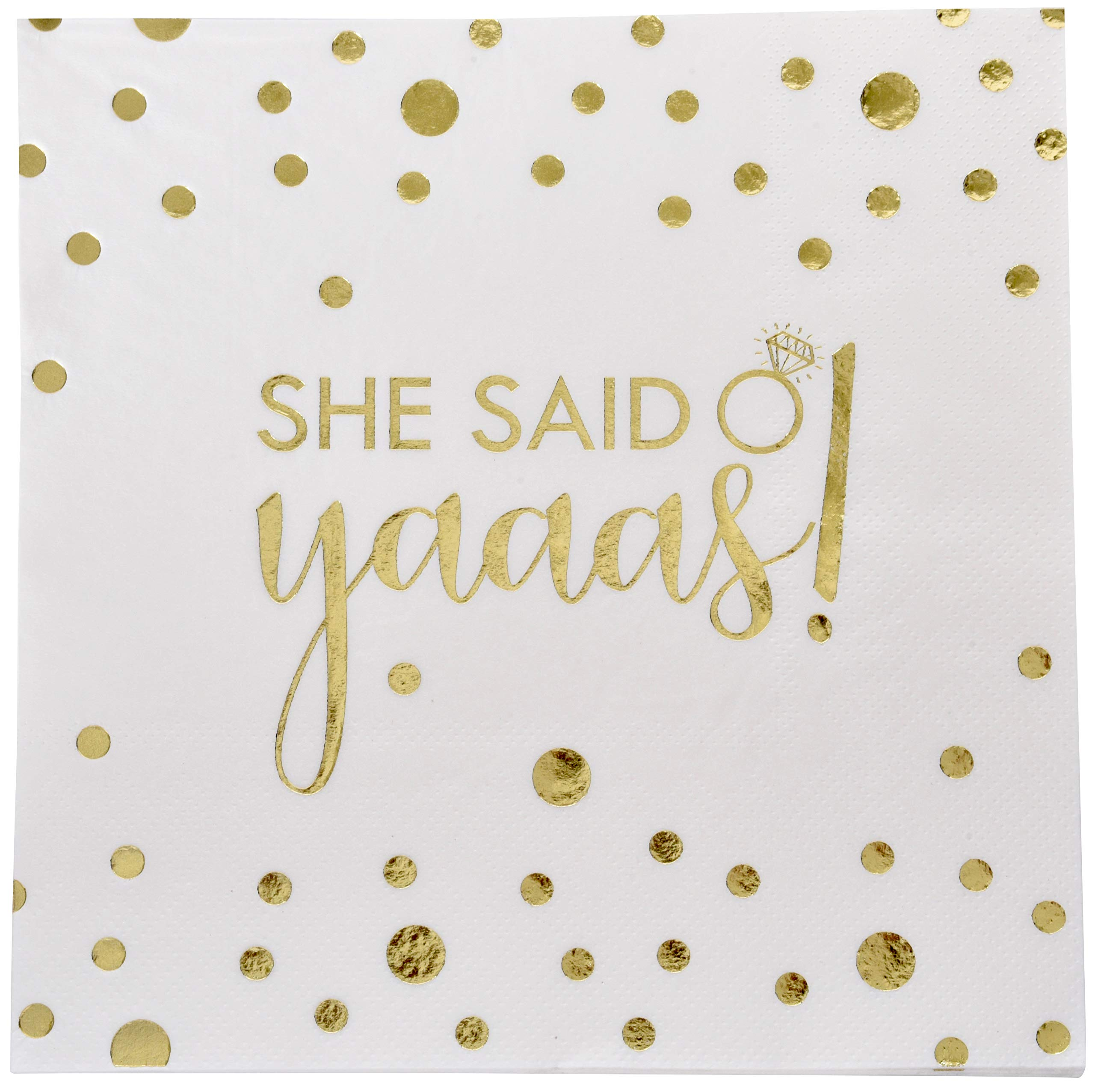 100 Engagement Wedding Napkins She Said Yaaas Luncheon 3-Ply with Gold Foil for Bridal Shower Bachelorette Party Decorations by Gift Boutique by Gift Boutique