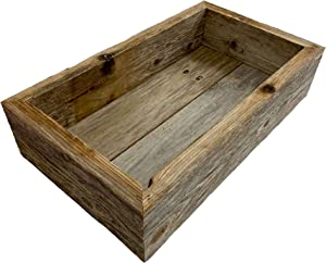 BARNWOODUSA Reclaimed Wood Bathroom Décor Box | Rustic | Toilet Paper Holder | Decorative Storage Box | Succulent Planter | Rustic | Kitchen | Table | Natural Weathered Gray | 21-inch Wide