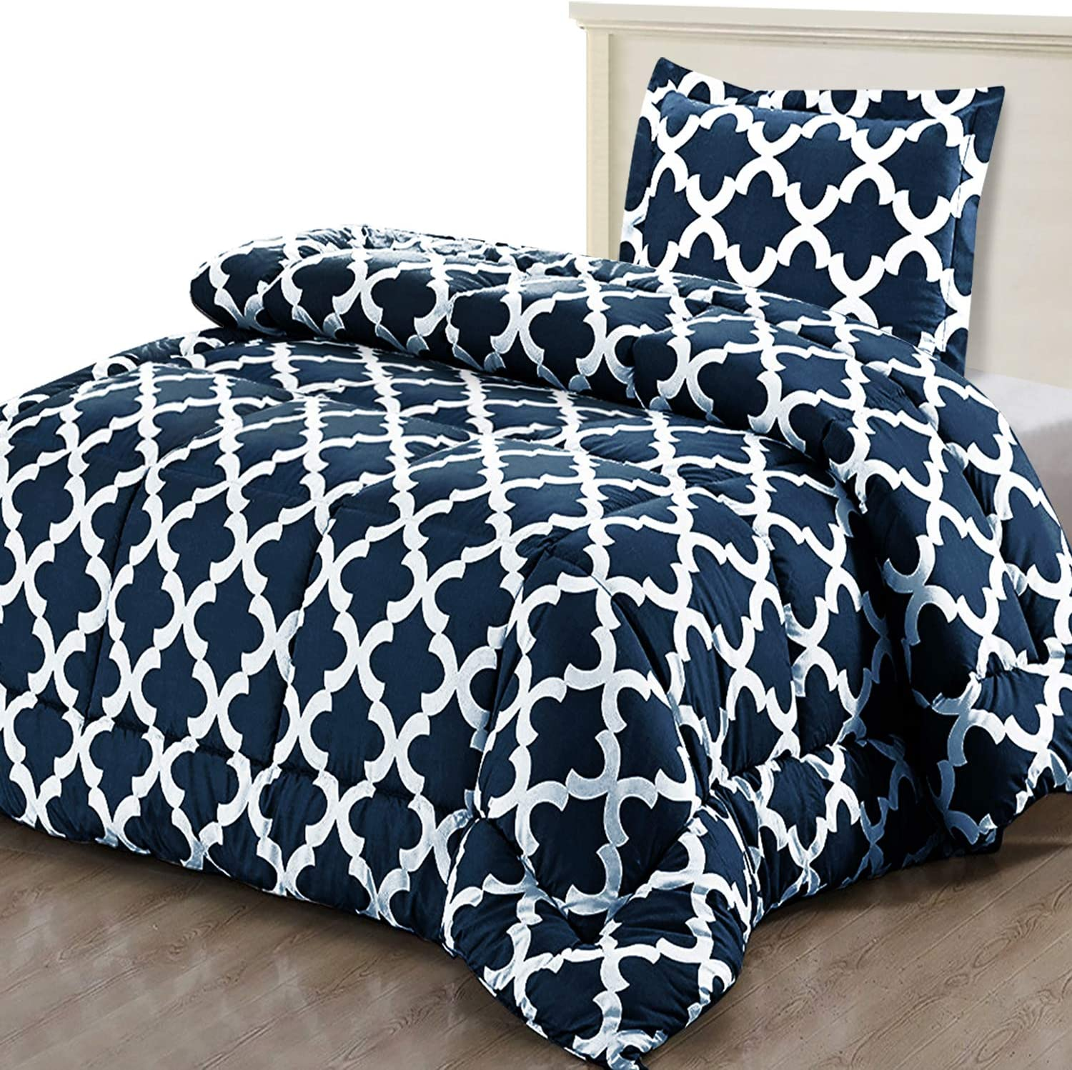 utopia bedding printed comforter set twin twin xl navy with 1 pillow sham luxurious brushed microfiber down alternative comforter soft and