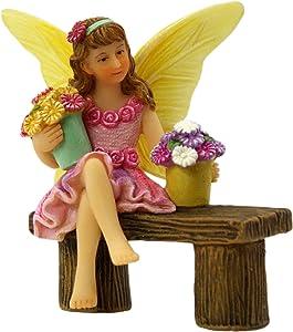 PRETMANNS Fairy Garden Fairies Accessories – Fairy Figurine Isabella for a Miniature Garden – Sitting Fairy with Buckets of Flowers – 1 Piece