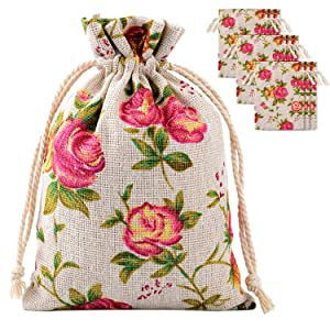 Pangda 30 Pack Rose Drawstring Bags Burlap Flower Pouch Bags Gift Bags Jewelry Pouches for DIY Craft Wedding Party, 3.9 by 5.3 Inches