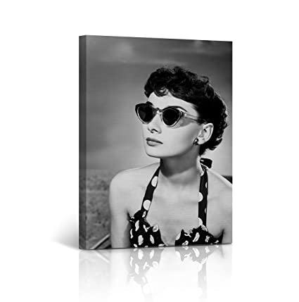 82dc06862a65f Amazon.com  Audrey Hepburn Wall Art Spotted Bikini and Sunglasses ...