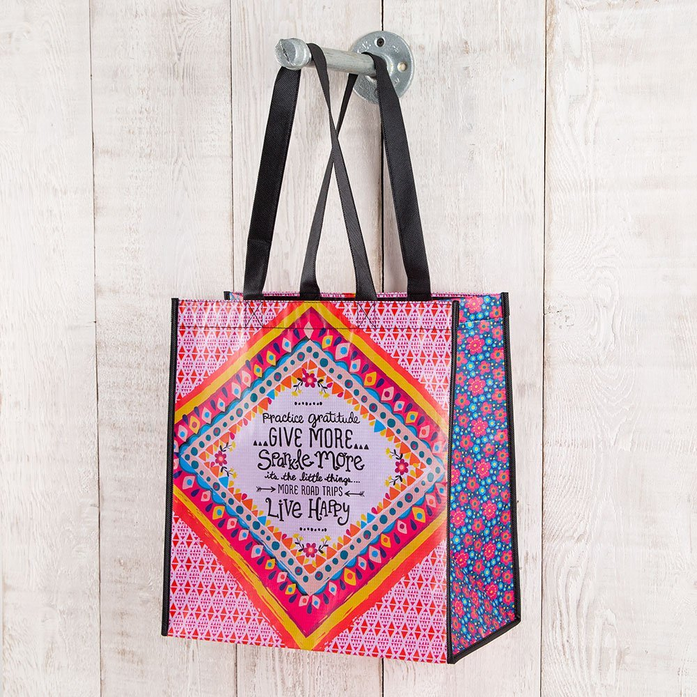 Set of 3 of Recycled Bags - Practice Gratitude - Large