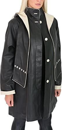 Ladies Mid Length Fitted Soft Leather Coat with Detachable Hoodie Kathy Brown