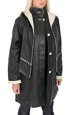House Of Leather Abrigo de Cuero para Mujer Desmontable con Capucha Clásica de 3/4