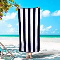 Silken Luxury Cabana Beach Towel 100% Turkish Cotton Soft Striped Towels (Navy 1)