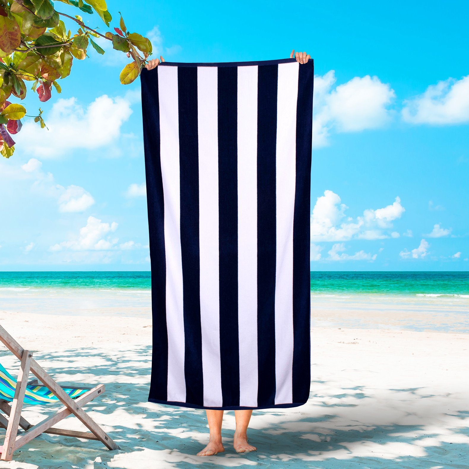 Silken Luxury Cabana Beach Towel 100% Turkish Cotton Soft Striped Towels (Navy, 3)
