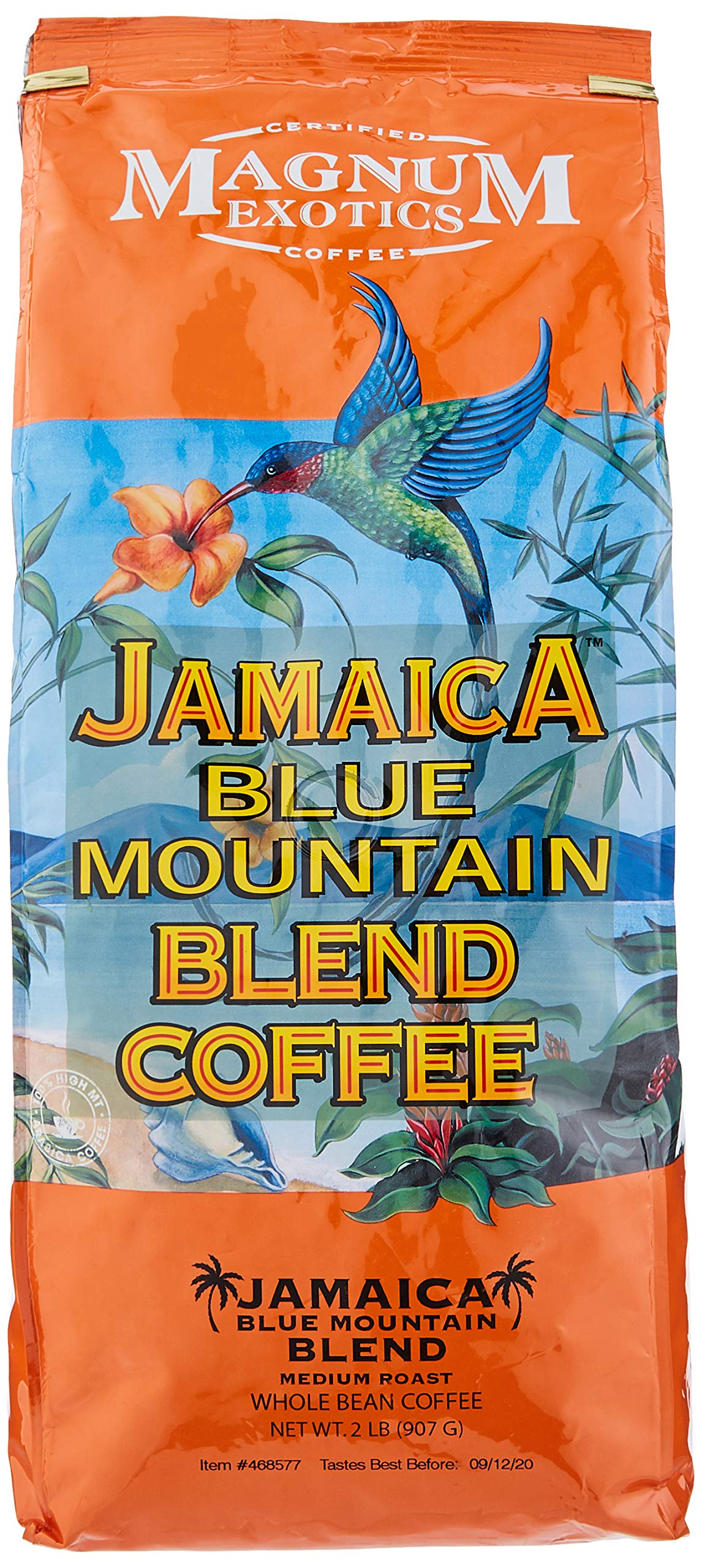 Magnum Jamaica Blue Mountain Coffee Blend - 2lbs Whole Bean (4 Pack)