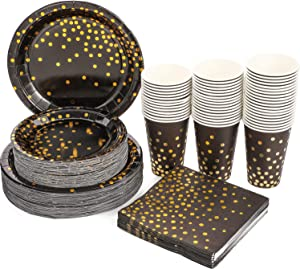 Black and Gold Party Supplies 200PCS Disposable Paper Plate Cup Napkin Set Includes 9