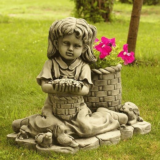 Figura DE Piedra Jardin NIÑA Flores CESTO HORMIGÓN: Amazon.es: Jardín