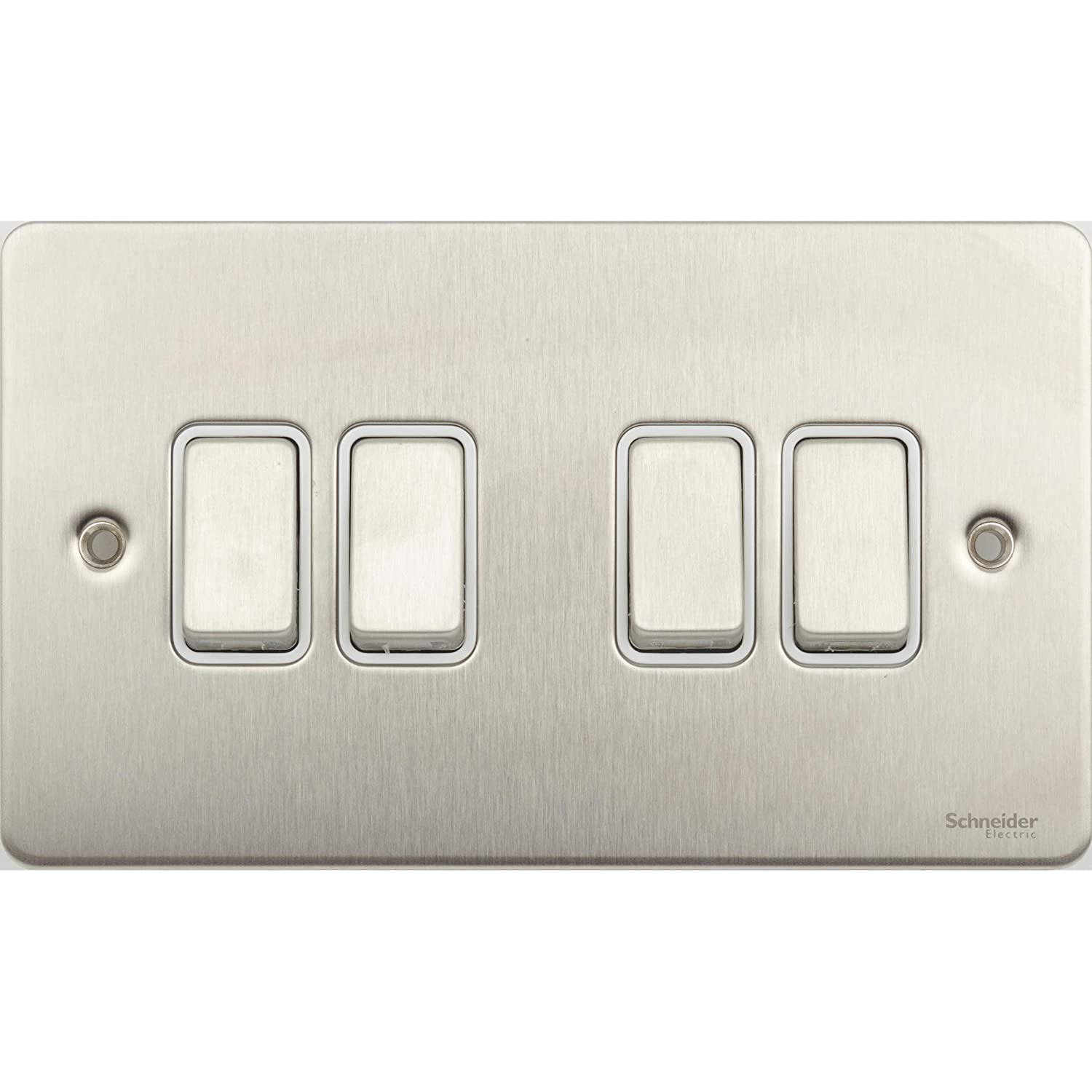Schneider Electric GU1242WSS Ultimate Flat Plate Stainless Steel 4 Gangs Pack of 1 1-Pole 2-Way Plate Switch