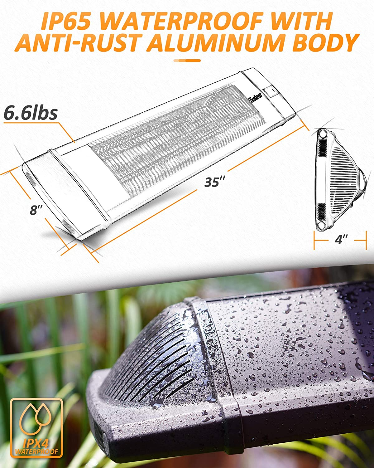 KUTON Electric Patio Heater, Outdoor Heater w/Remote, Wall Mounted Infrared Heater, IP65 Waterproof Outdoor Heater, 3 Power setting, Max. 5118BTU for Patio, Garage, Timer Setting for In/Outdoor, Black: Kitchen & Dining