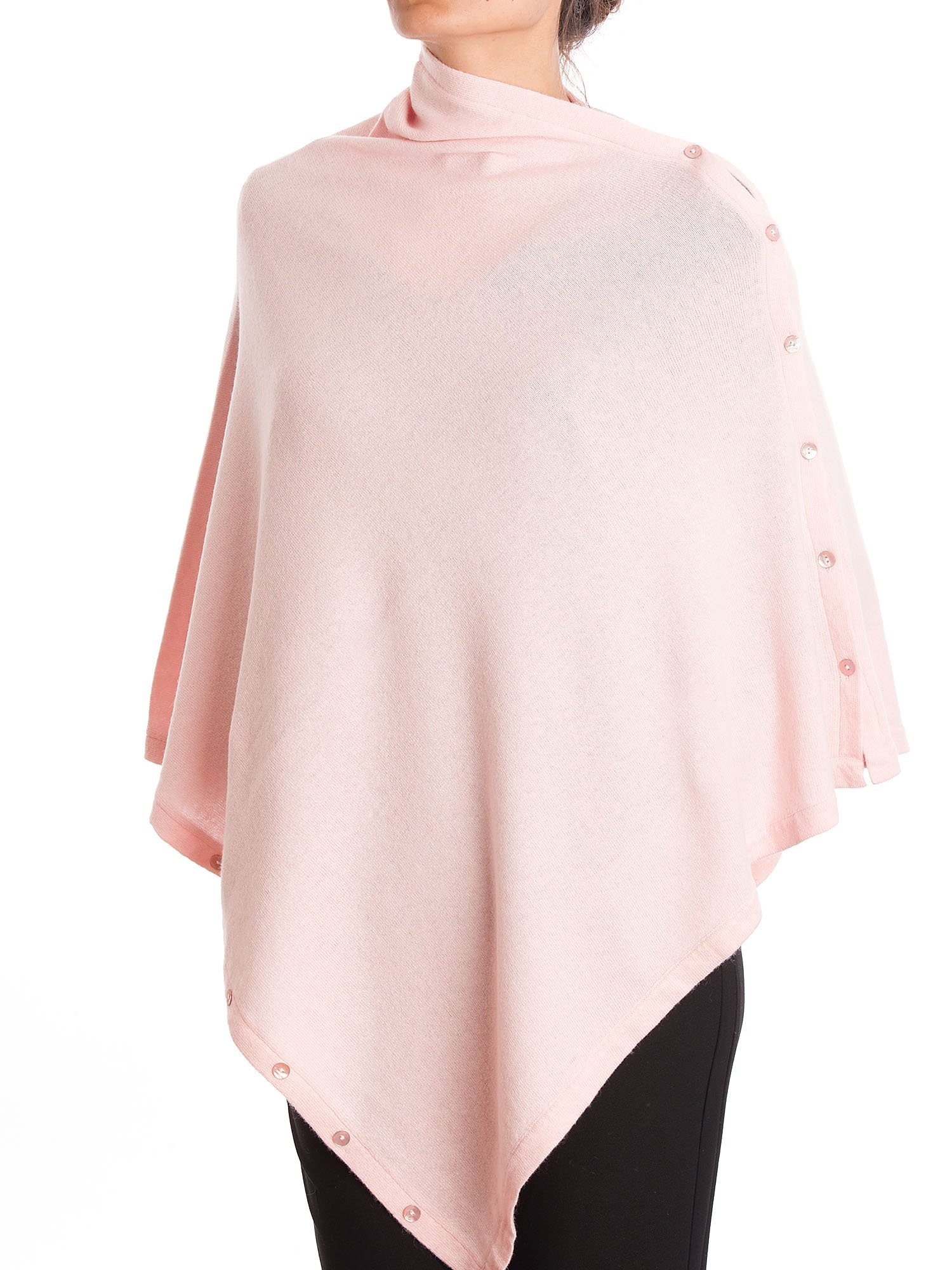 DALLE PIANE CASHMERE - Poncho with Buttons Cashmere Blended Yarns - Made in Italy, Color: Pink, One Size