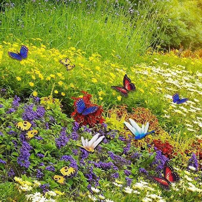 Keer 50 Piezas Coloridas Mariposas de jardín estacas decoración ...