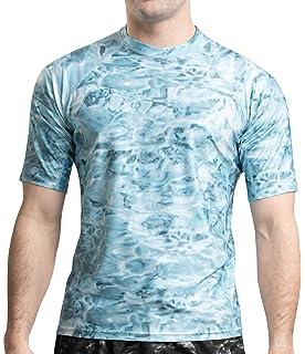 5946ee3f2 Aqua Design Rash Guard Men Swim Shirt: Mens Short Sleeve Sun Protection  Surf Camo Rashguard