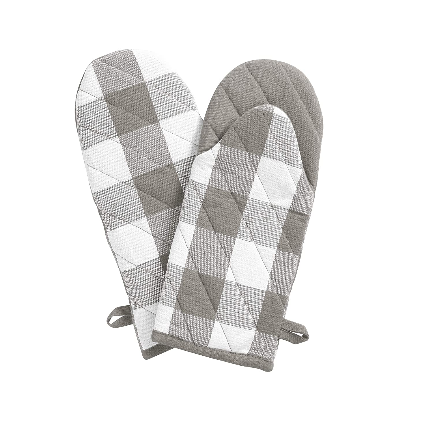 "Elrene Home Fashions Farmhouse Living Buffalo Check Oven Mitt Pair, 13"" x 6"", Gray/White 2"