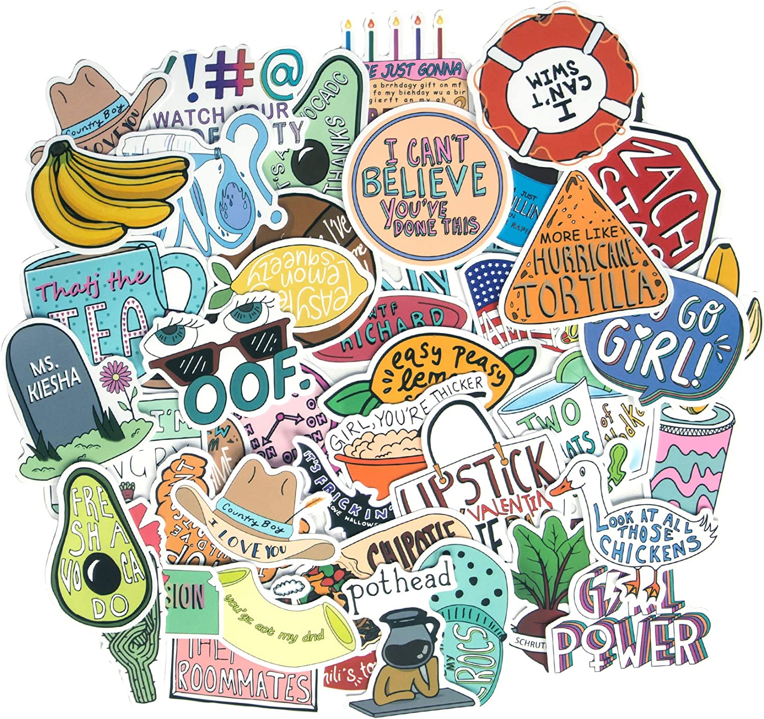 Aesthetic Stickers, 50Pack Cute VSCO Stickers Trendy Waterproof Vinyl Stickers for Laptop Guitar Computer Skateboard Stickers for Teens Gifts