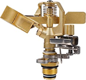 Twinkle Star 1/2 Inch Brass Impact Sprinkler, Heavy Duty Sprinkler Head with Nozzles, Adjustable 0-360 Degrees Pattern, Watering Sprinklers for Yard, Lawn and Grass Irrigation, 1 Pack