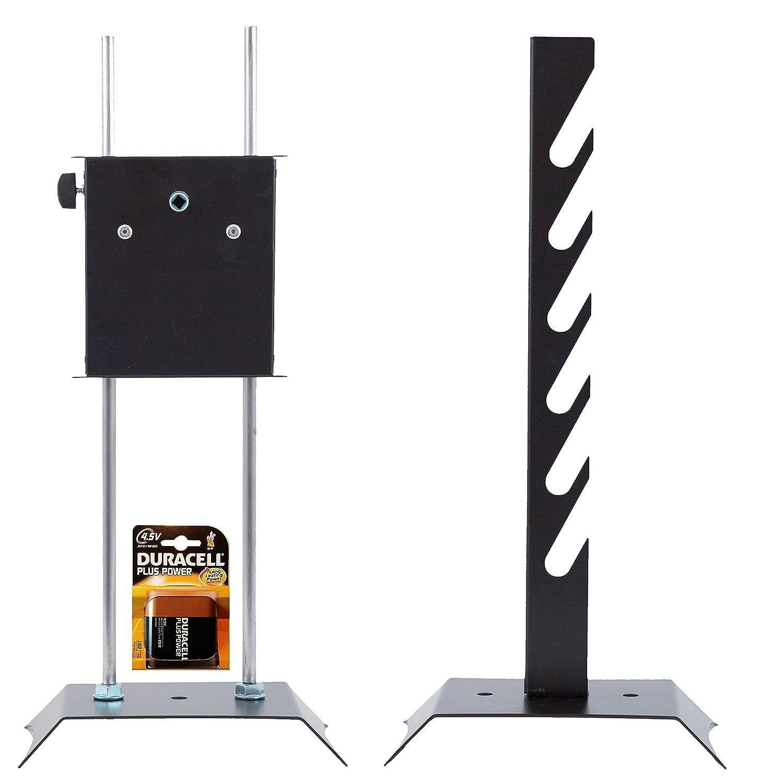 GIRARROSTO LOSA a Batteria con Coppia di Forchette Fermacarne e Spiedo in ACCIAIO INOX Perez Metal Designer