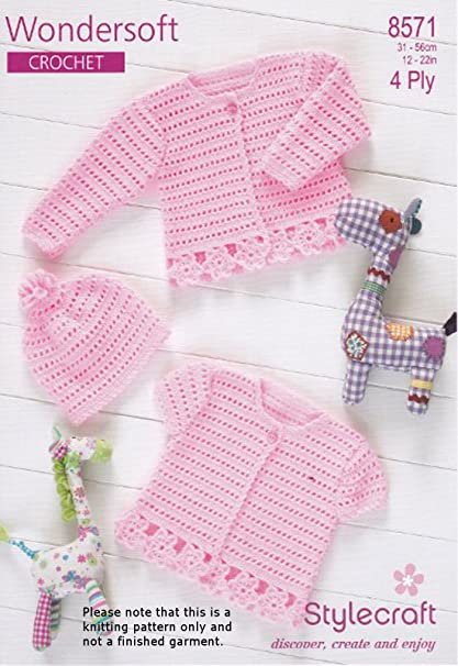 8255ef692d5f Stylecraft 4 Ply Crochet Pattern - 8571 Baby Cardigans and Hat ...