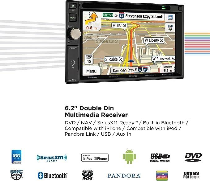 Jensen VX7020 6.2 inch LCD Multimedia Touch Screen Double Din Car Stereo on jensen cd3010x wiring harness, accel ecm wire diagram, jensen speaker, jensen vm9312 wiring, jensen tools, jensen din 8 pin,