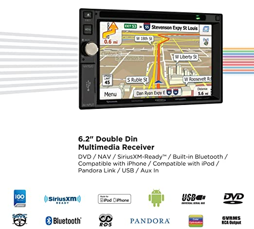 Jensen Vx7020 6 2 Inch Lcd Multimedia Touch Screen Double Din Car Stereo Receiver With Built In Navigation Bluetooth Cd Dvd Player Usb Microsd