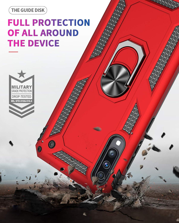 Plata TANYO Funda+2 Pack Vidrio Templado Pel/ícula Protectora Adecuado para Samsung Galaxy A50 Anillo Met/álico Soporte Funci/ón Magn/ética del Coche Heavy-Duty Armadura Anti-Ca/ída Caso