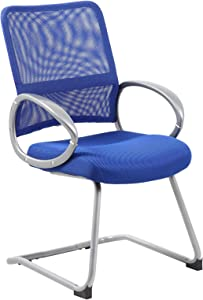Boss Office Products Mesh Back Guest Chair with Pewter Finish in Blue