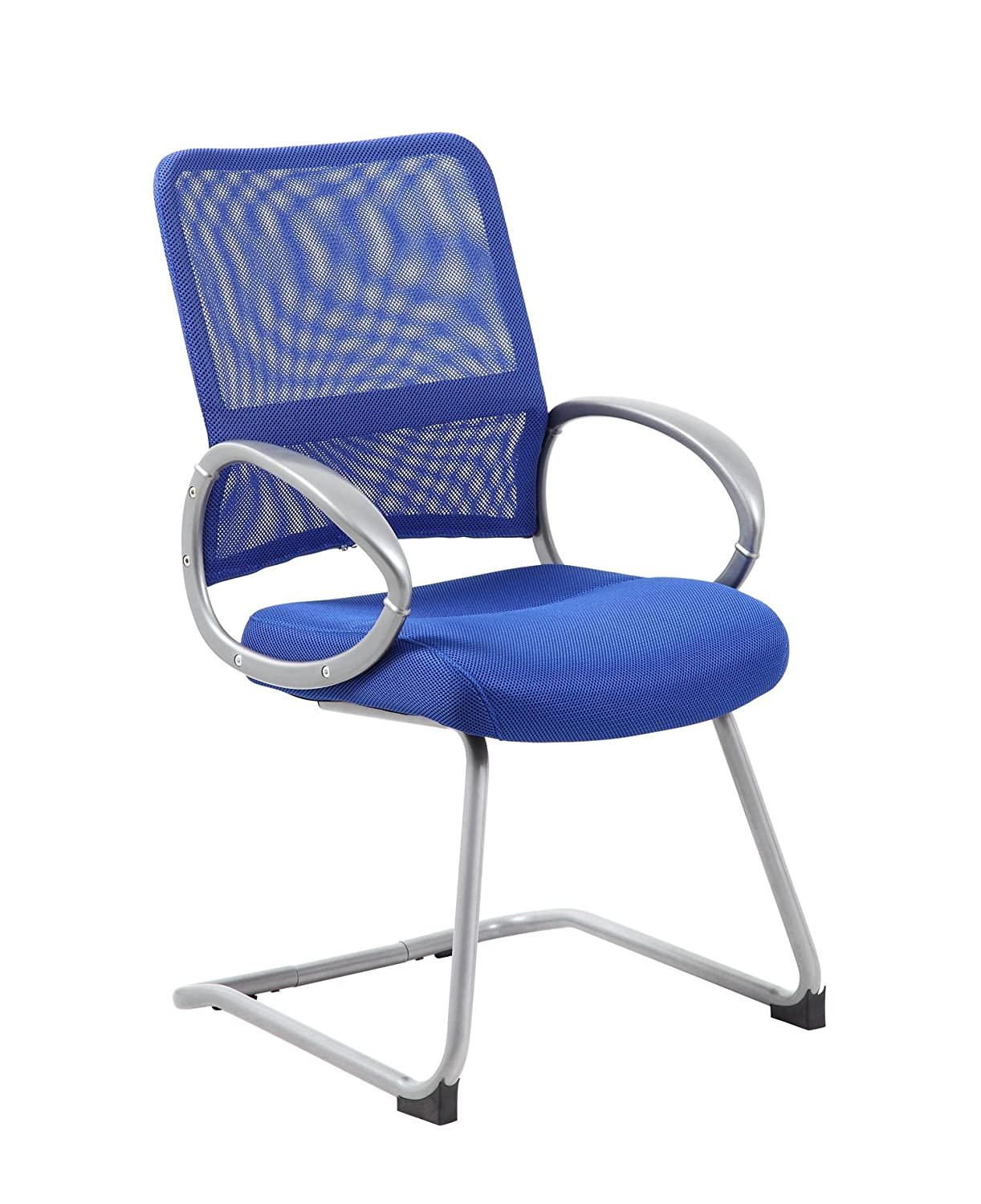 Boss Office Products B6419-BE Mesh Back Guest Chair with Pewter Finish in Blue