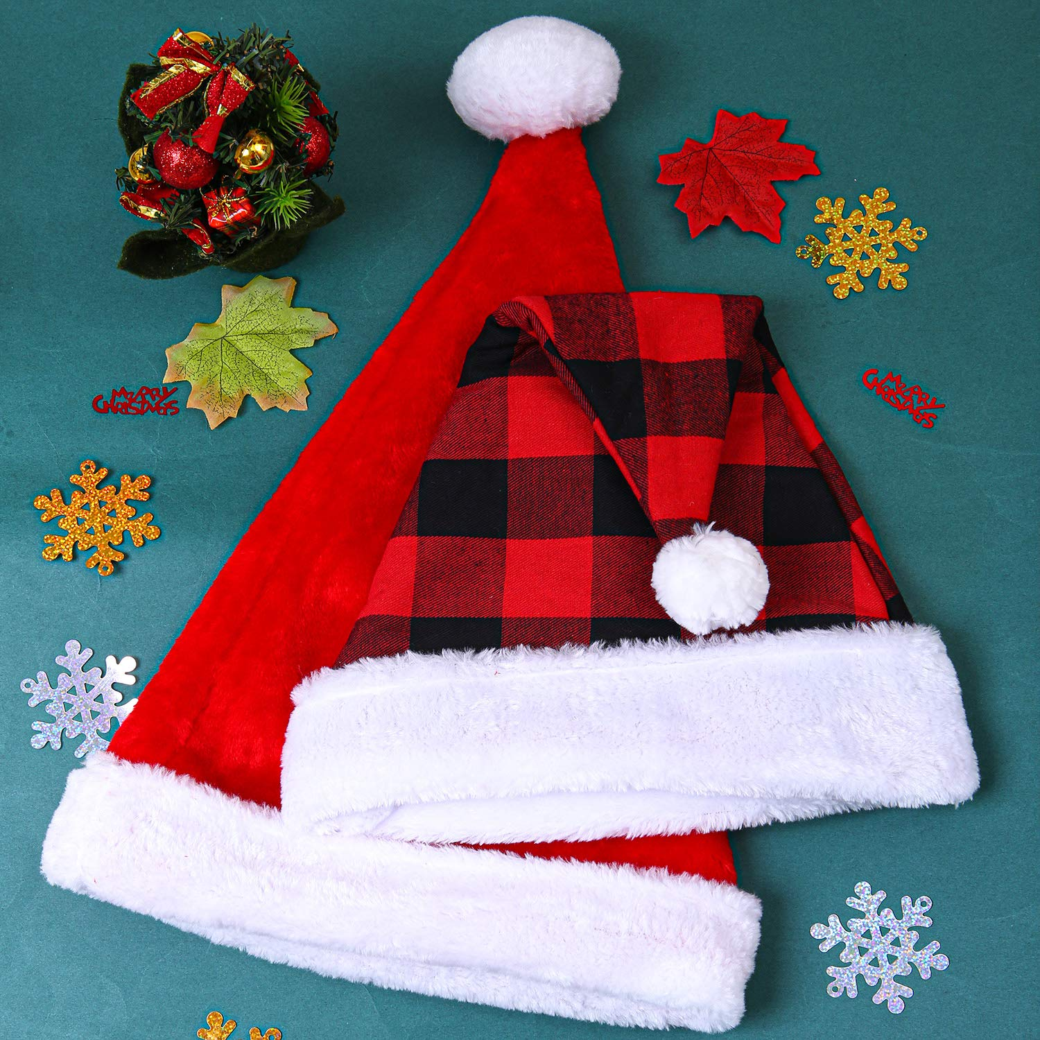 URATOT 2 Pack Santa Hat Christmas Santa Hat Plaid Santa Hat and Traditional Red and White Santa Hat for Christmas Costume Party