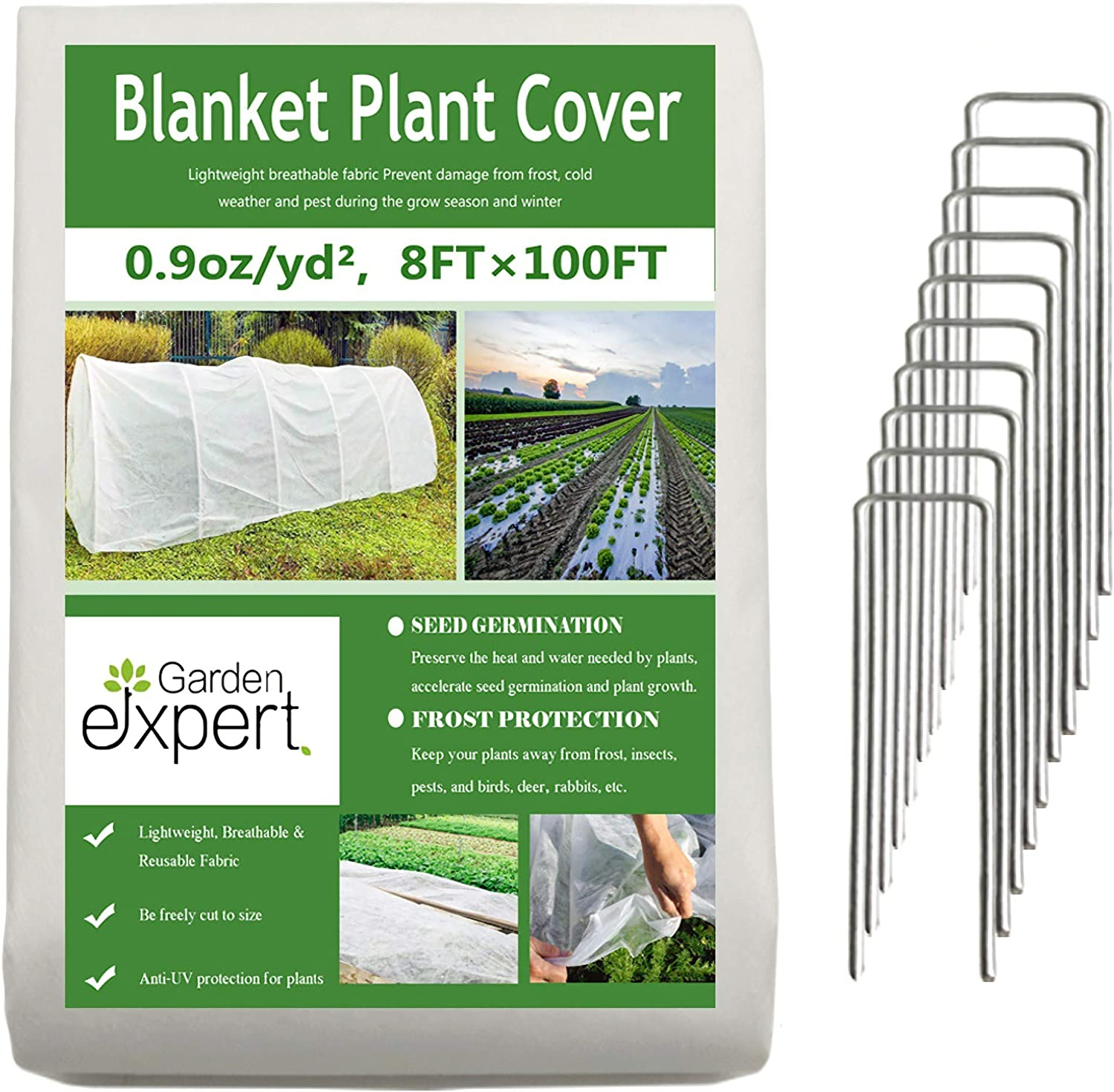 Garden EXPERT Plant Covers Freeze Protection Floating Row Cover 0.9oz Fabric Frost Cloth Plant Blanket for Plants & Vegetables in Winter(8FTx100FT,with 10 PCS Staples Stakes)
