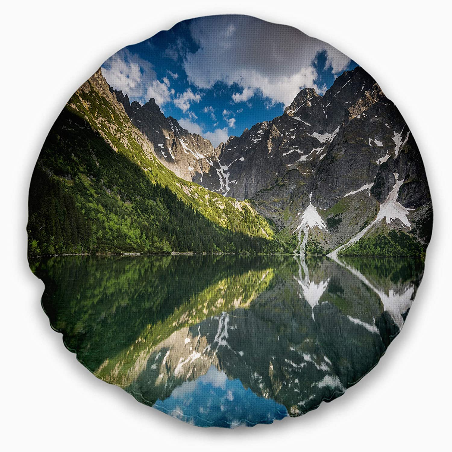 Designart CU9872-16-16-C Reflection of Mountain Peaks Landscape Printed Round Cushion Cover for Living Room Sofa Throw Pillow 16 Insert Side