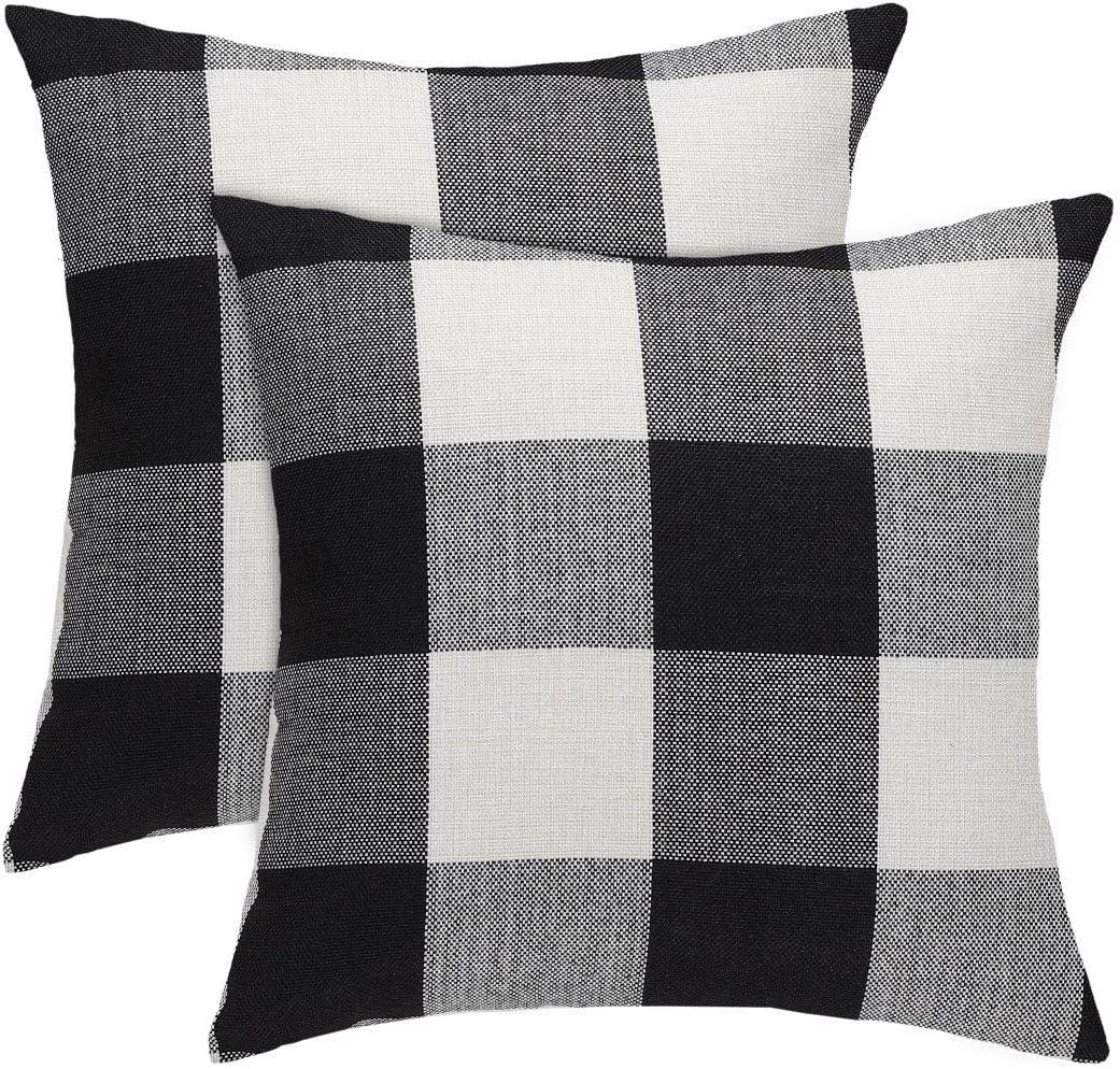 Sourcingmap - Funda de cojín cuadrada de algodón y lino, diseño de cuadros de búfalo, negro, blanco, 2 Packs/18