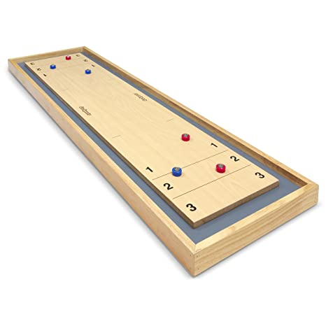 GoSports Shuffleboard And Curling 2 In 1 Table Top Board Game With 8  Rollers   Great