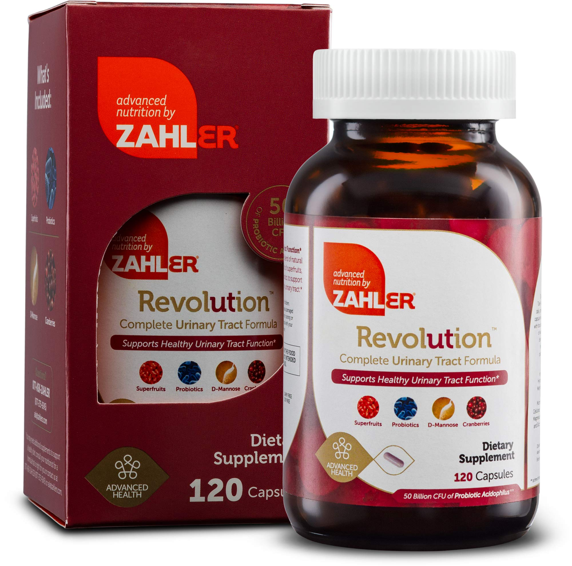 Zahlers UTI Revolution, Urinary Tract and Bladder Health, Cranberry Concentrate Pills Fortified with D-Mannose and Probiotics, Certified Kosher,120 Capsules by Advanced Nutrition by Zahler