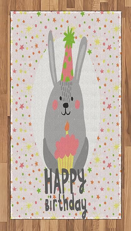 Amazon com: Lunarable Birthday Area Rug, Rabbit with Birthday Hat