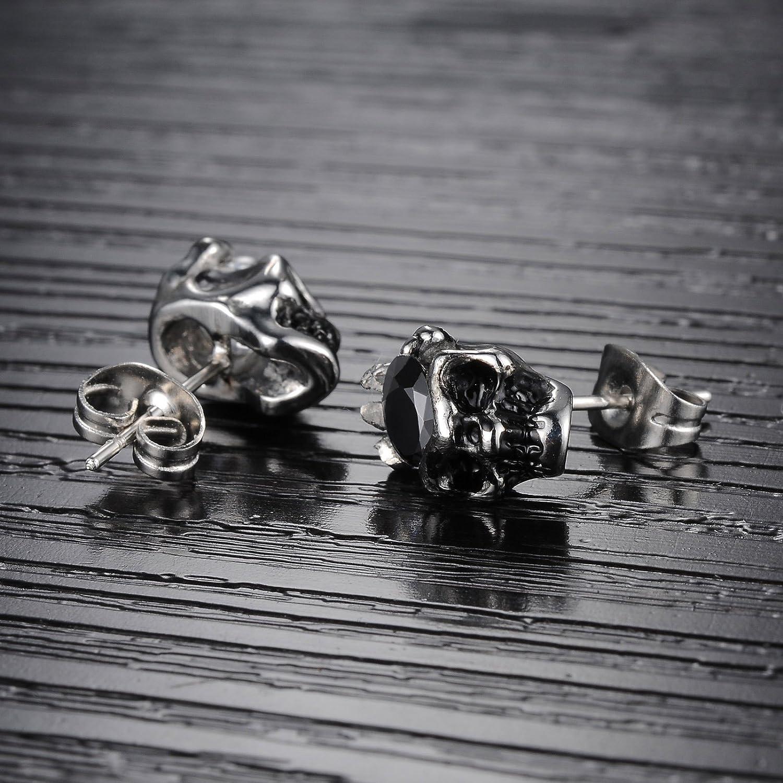 Paialco Men/'s Stainless Steel Skull Shape Cubic Zirconia Stud Earring