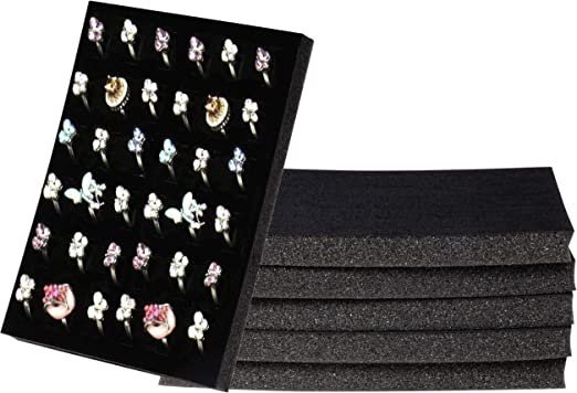 12 Black 36 Ring Jewelry Storage /& Display Trays with Carrying Case