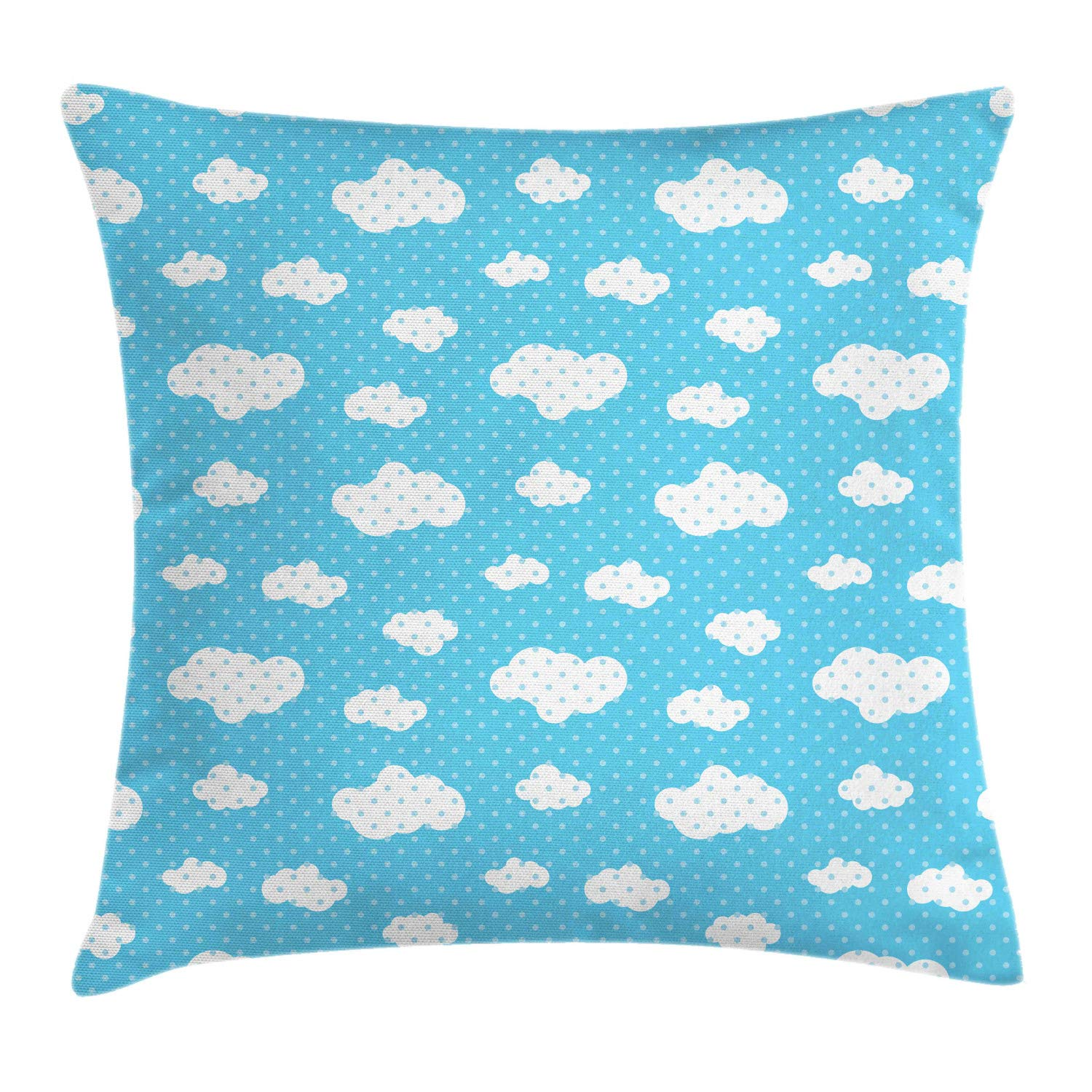 Lunarable Sky Throw Pillow Cushion Cover, Fluffy Clouds with Polka Dots Effects Children's Playroom Nursery Thematic, Decorative Square Accent Pillow Case, 24'' X 24'', Sky Blue and White by Lunarable