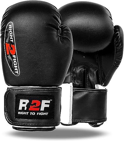 R2F Sports Compacto D Forma Black Cuero Guantes De Boxeo Muay Thai MMA Sparring Formación Guantes: Amazon.es: Deportes y aire libre