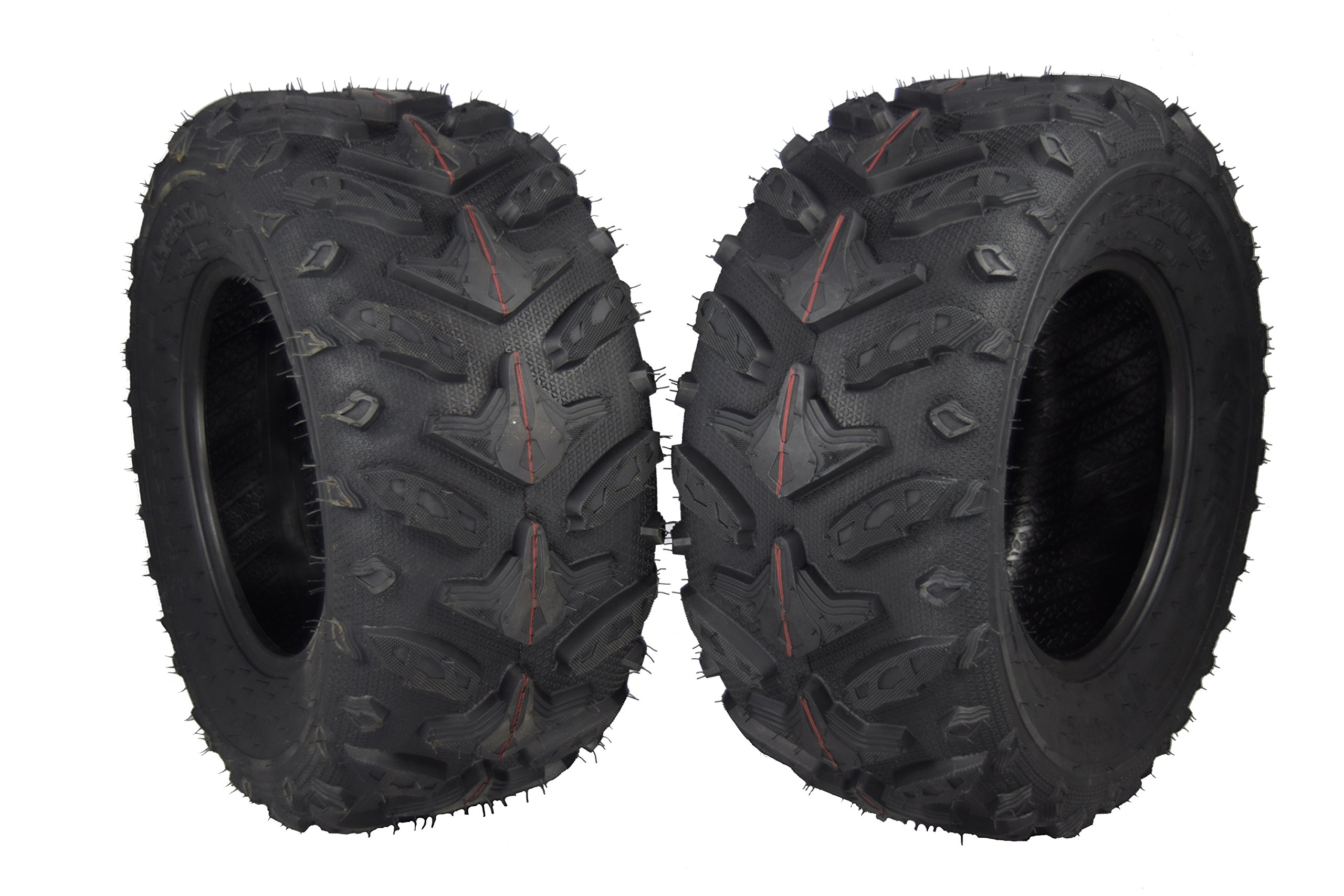 MASSFX Grinder Series ATV Dual Compound Tread Mud Sand Snow and Rock Tires (Two Rear 25x10-12)
